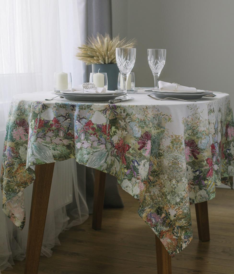 decoflux 100% cotton tablecloth art meadow 3